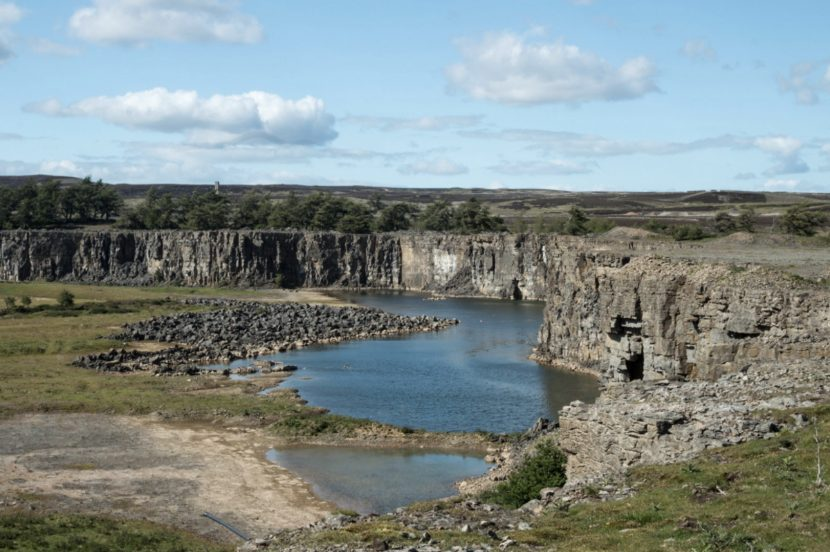 A quarry with a lake