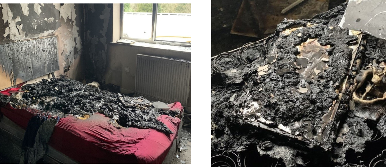 Image of a heavily fire damaged bedroom
