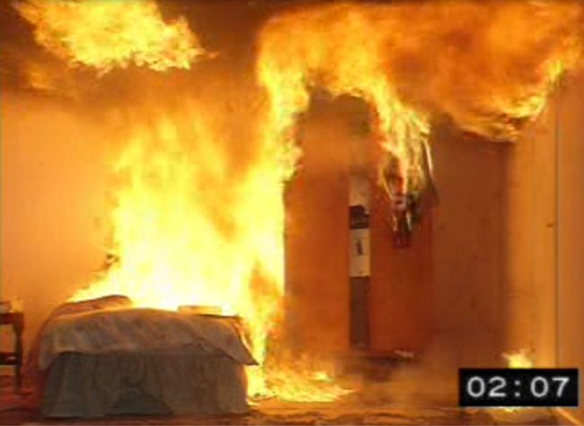 Stil of a video at 2 minutes, 7 seconds - fire has engulfed entire room