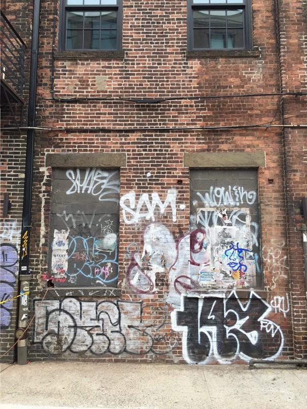 A building covered in graffiti