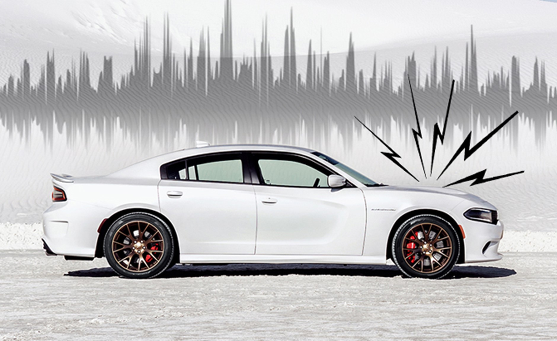 A white car with abstract lines indicating a noise emitting from the bonnet