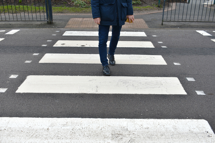 An example of a zebra crossing in use